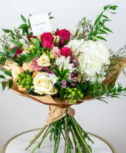 pink and white flowers bouquet by casa petals flower delivery dubai