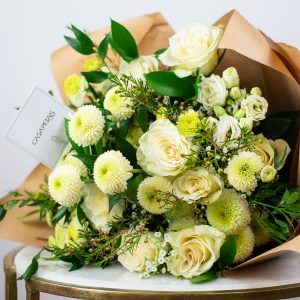 white roses bouquet by casa petals online flower deliver dubai