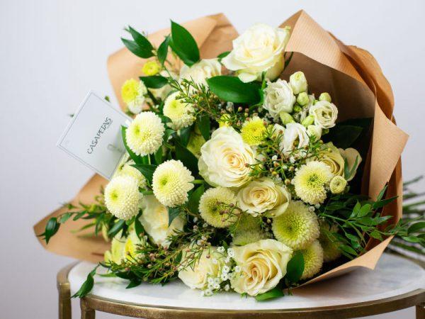 white roses bouquet by casa petals online flower deliver dubai